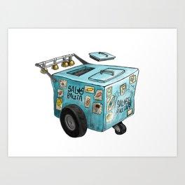 Blue Paletero Ice Cream Cart Art Print