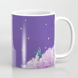 Penguin Sends Love Letter with Heart Balloon to Friend Across Starry Sky Coffee Mug