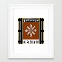 tote bag Framed Art Prints featuring Adinkra Symbol Tote Bag by Sarah Pearl