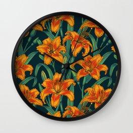 Orange lily flowers Wall Clock