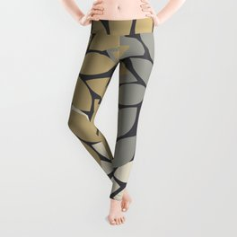 Bold Colorful Gold Ivory Charcoal Grey Dahlia Flower Burst Petals Leggings