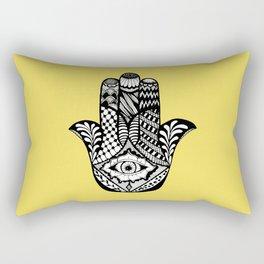 Hand Drawn Hamsa Hand of Fatima on Yellow Rectangular Pillow