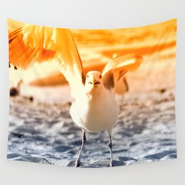 The seagull on crazy rubbing shoulders Wall Tapestry