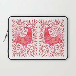 Le Coq – Watercolor Rooster with Red Leaves Laptop Sleeve