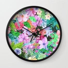 exotic flowers pattern Wall Clock