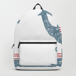 Maritime Design- Nautic Anchor on stripes in blue and red Backpack