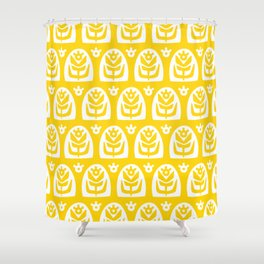 Mid Century Modern Sunflower Yellow Shower Curtain