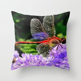 Red Dragonfly on Violet Purple Flowers Throw Pillow