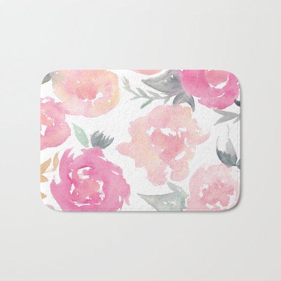 Muted Floral Watercolor Design  Bath Mat