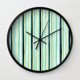Watercolor Sea Glass Stripes Wall Clock