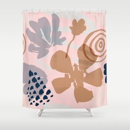 Abstract Leaves and Flowers III Shower Curtain
