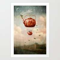 tea Art Prints featuring Tea for Two at Dusk by Paula Belle Flores