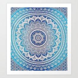 Teal And Aqua Lace Mandala Art Print