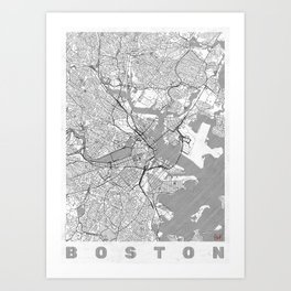 Boston Map Line Art Print