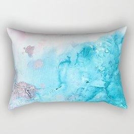 Morning Beach_Blue & Pink abstract painting Rectangular Pillow