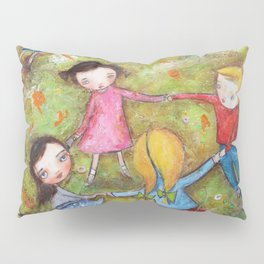 Autumn Mistral, playing ring-a-ring-a-rosie on a windy day Pillow Sham
