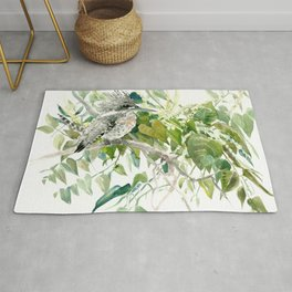 Crested Kingfisher and Japanese Knotweed Rug