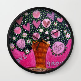 Love Grows  - Pink Tree Wall Clock
