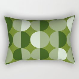 Retro circles grid green Rectangular Pillow