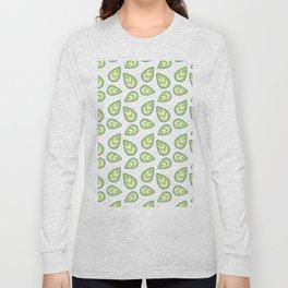 Modern green white abstract geometrical leaves Long Sleeve T-shirt