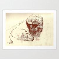 buffalo Art Prints featuring Buffalo by Smog