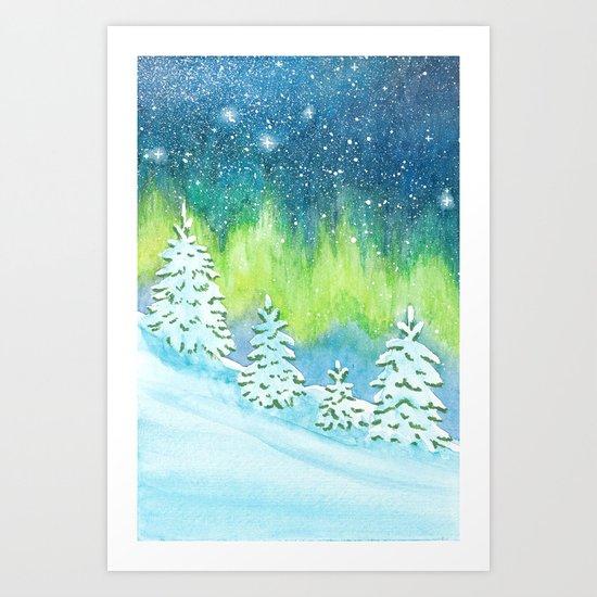 Winter Aurora Landscape Art Print