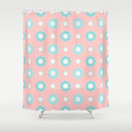 Blue and white flowers over pink Shower Curtain