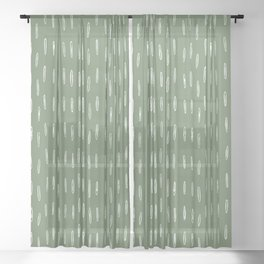 Let It Snow, Green and White, Boho Art Sheer Curtain