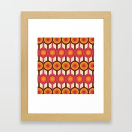 Magenta, Orange, Ivory & Brown Retro 1960s Circle Pattern Framed Art Print