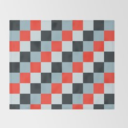 Stainless steel knife - Pixel patten in light gray , light blue and red Throw Blanket