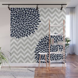 Chevron Floral Modern Navy and Grey Wall Mural