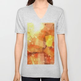 Orange rectangle coctail Unisex V-Neck