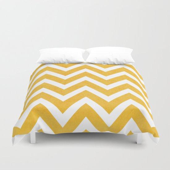 yellow chevron Duvet Cover