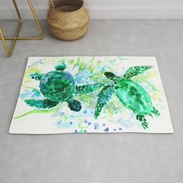 Sea Turtles Underwater Scene Turquoise Blue design, bright blue green design Rug