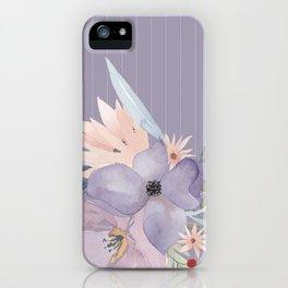 Striped Floral Lavender Bouquet iPhone Case
