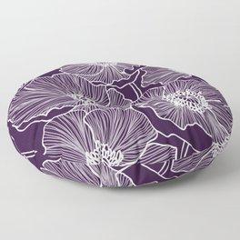Aubergine Poppies Floor Pillow