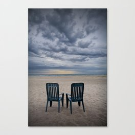 Sunrise on the Beach with Two Chairs at Oscoda Michigan Canvas Print