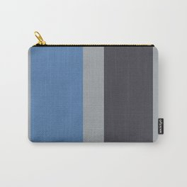 A singular merge of Charcoal Grey, Pinkish Grey, Cool Grey and Off Blue vertical stripes. Carry-All Pouch
