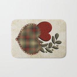Red & Green Plaid Heart Love Letter Bath Mat