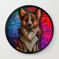 corgi Wall Clocks featuring Corgi by Joshua M. Rhodes III