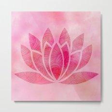 Watercolor Lotus Flower Yoga Zen Meditation Metal Print