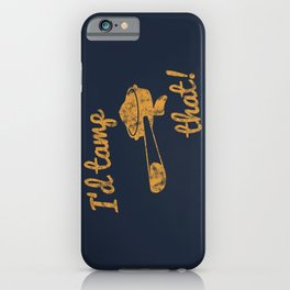 I'd Tamp That! (Espresso Portafilter) // Mustard Yellow Barista Coffee Shop Humor Graphic Design iPhone Case
