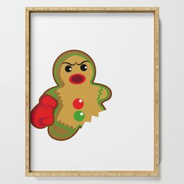 Gingerbread Christmas Fight Boxing Funny Gift Serving Tray
