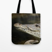 crocodile Tote Bags featuring Crocodile  by Bunny+Bear Photography