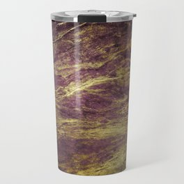 Classic Vintage Eggplant-Plum Faux Marble With Gold Veins Travel Mug