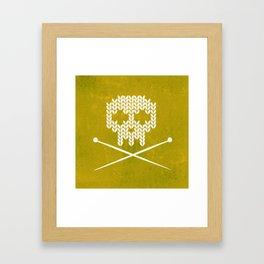 Knitted Skull (White on Yellow) Framed Art Print