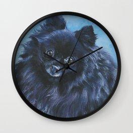 black POMERANIAN dog art portrait from an original painting by L.A.Shepard Wall Clock