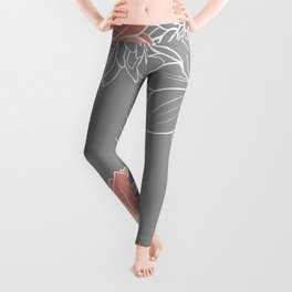 Festive, Floral Prints and Line Art, Gray and Coral Leggings