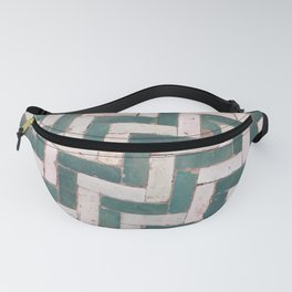 Moroccan floor tiles in green and white chevron Fanny Pack