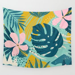 Hawaii Pastel Pink & Mint Green Tropical Floral-Prints Wall Tapestry